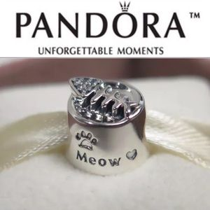 791716CZ Retired Pandora Cat Kitten Bowl Dish Bead